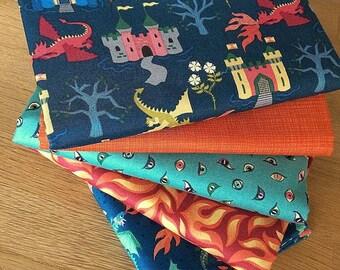 DRAGONS fat quarter bundle {A} by Lewis & Irene Boys Fabric Fire Flame Castle Blue