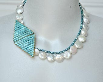 Freshwater Pearls, Vintage Rhinestone Buckle Clasp Aqua & White Necklace