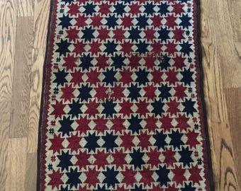 Hand Woven 1950's Star Rug Carpet