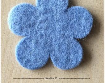 pretty little 80 mm light cornflower blue felt flower