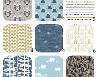 CRIB BEDDING Blue,Tan,Gold,Black Bjorn Bear - Crib Sheet, 4moms, Stokke, Mini Crib, Changing Cover, Crib Skirt, Boppy Cover by Hawthorne