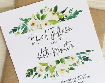 Greenery and white flower wedding invitation - Rustic wedding invitation - Calligraphy wedding invitation