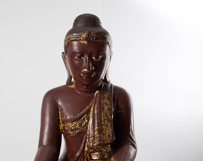 Antique Wood Buddha / Large 19th Century Southeast Asian Burmese Gold Gilded Red Lacquered Jewel Seated Spiritual Shrine Statue