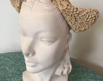 1940s lace dutch juliet cap