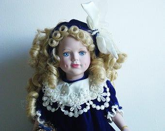 "Brass Key Collectibles Porcelain Doll 1999 Camellia Garden Victorian 16"" Vintage"