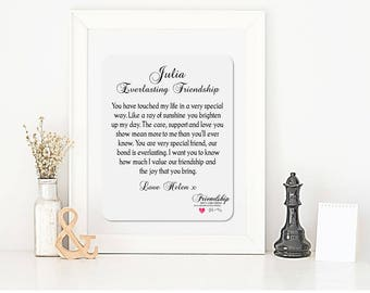 Personalised Friendship Framed Poem - Everlasting Friendship