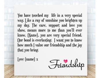 Everlasting Friendship Poem Ceramic Plaque. Personalised Gift