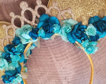 Disney Jasmine inspired Minnie mouse ears. Disney Aladdin birthday accessories. Princess Jasmine costume. LARGE