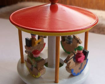 Made in East Germany Wooden Merry-Go-Round Carousel Signed