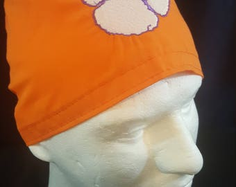Clemson Tigers Embroidered Paw University South Carolina  Football Tie Back Surgical Scrub Hat