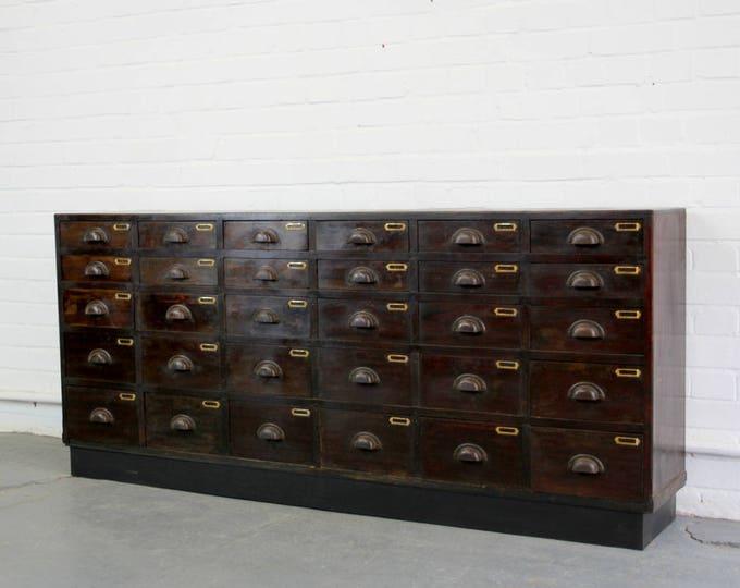 Large Bank Of Mahogany Factory Drawers Circa 1900