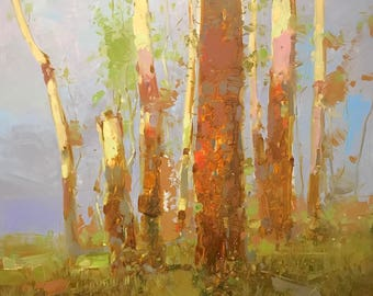 Birches Trees, Landscape Original oil Painting, Handmade painting, One of a kind