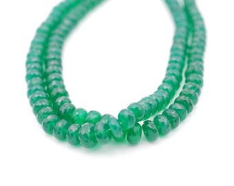 Green Onyx Faceted Rondelles 8-10 mm