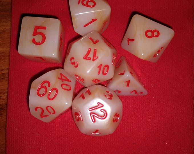 White Jade - 7 Die Polyhedral Set with Pouch