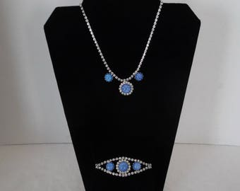 Faux Blue Star Sapphire Necklace and Bracelet