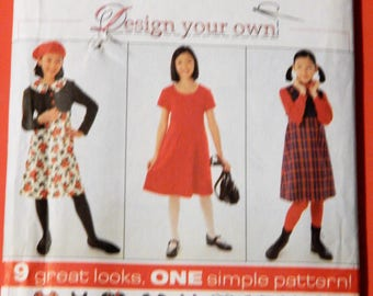 Simplicity 7276 Design your own girls' dress pattern Uncut Sizes 7, 8, 10, 12 and 14