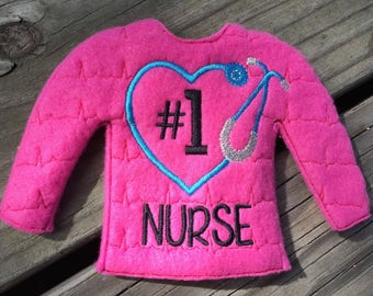 100% In the Hoop  - Nurse - Medical - Stethoscope - Doll Sweater - 5 x 7 Only - Fleece is Suggested -  DIGITAL Embroidery Design