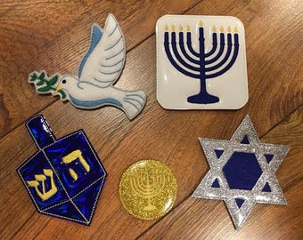 LARGE Padded Feltie Jewish - Hanukkah SET - 4 x 4, 5 x 7 and 6 x 10 Included  - DIGITAL Embroidery Design