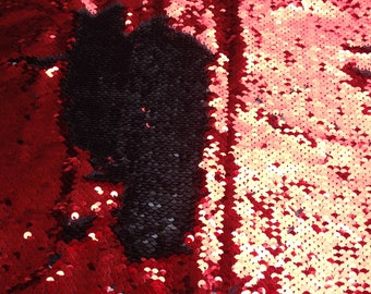 1 Yard Shiny Red/Shiny Black Mermaid Sequin Fabric, New TwoTone Flip Up Sequin Fabric,Sequin on Satin Fabric,Reversible Sequin Fabric