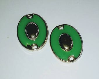 X 1 large green/gold oval connector