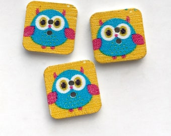 X 4 square buttons wood OWL wing blue fuchsia (hole height) 15X15mm