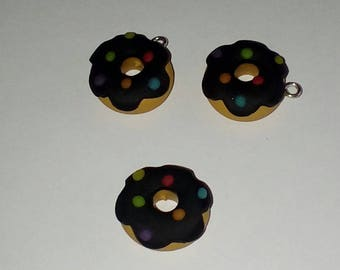 X 1 black nuggets multicolor polymer clay Donut