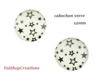 X 2 star black and white 12mm Cabochons