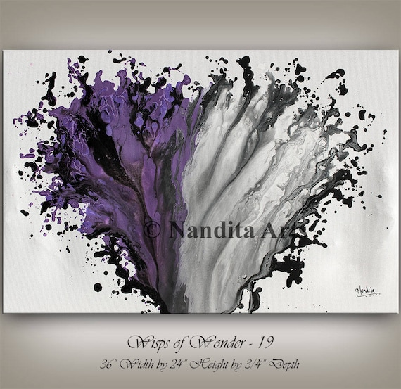 Purple And Grey Wall Art purple and grey modern painting wall art magenta abstract home