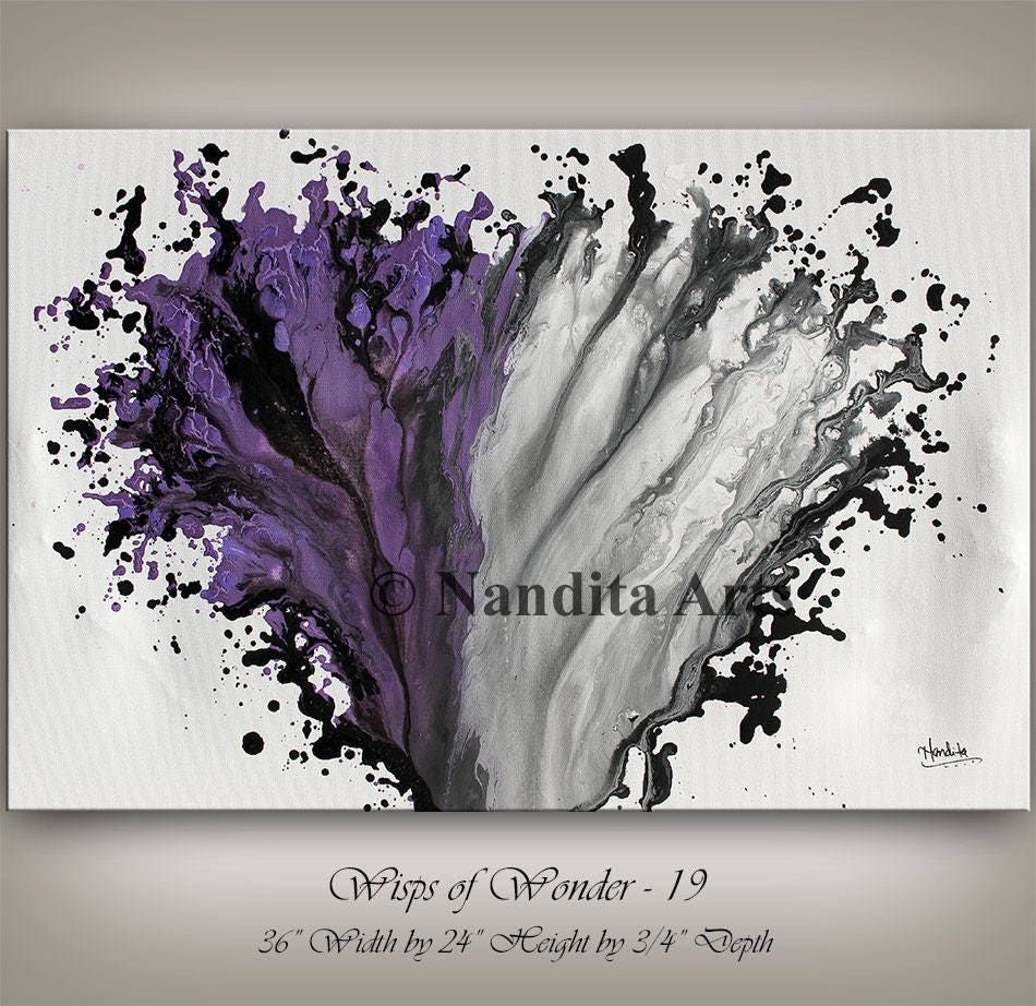 Purple And Grey Modern Painting Wall Art Magenta Abstract Home