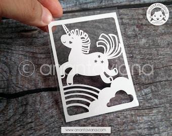 ACEO Original | Original cut by hand papercut | Unicorn | Design by Anantaviana