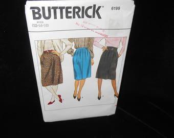 Misses Skirt Butterick 6199 Womens Size 12 14 16 A Line Skirt Pattern