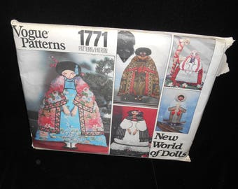 Doll Pattern Vogue 1771 New World of Dolls Japanese Polish Mexican Indian African Eskimo 18 inch tall