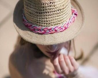 Chapeau de paille - Tresse rose et bleue