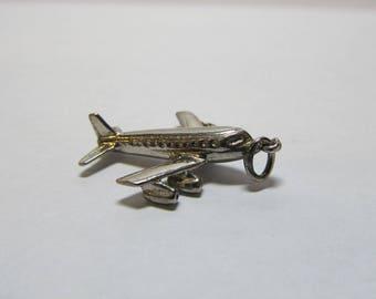 Vintage Sterling Silver Airplane Charm W #670