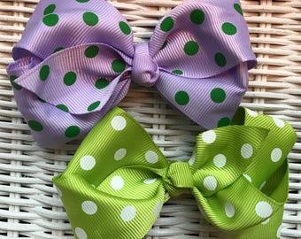 Set of 2 Ribbon Hairbows-Purple & Green Polka Dot Bow Hair Clips