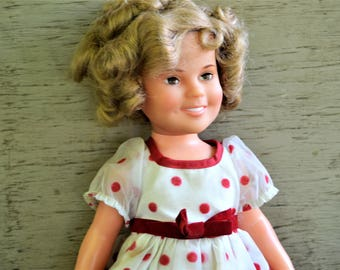 SHIRLEY TEMPLE DOLL 1970s Large Shirley Temple Red and White Dress
