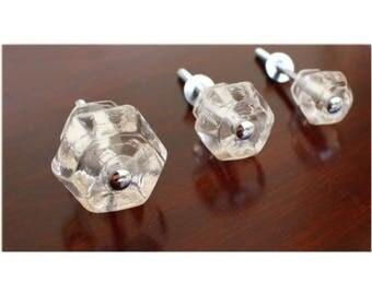 """1.5"""" CLEAR Glass Cabinet Knobs Pulls Vintage Dresser Drawer Hardware 25 pcs"""