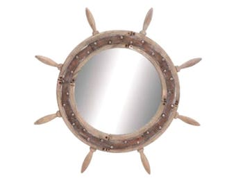 """Aged Wood Ships Wheel Mirror w Rust Surface, Antiqued Weathered, Big 29"""" Dia"""