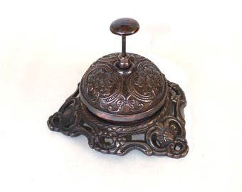 Old Fashioned Antique Replica SOLID BRASS Front Desk Retail Counter Store BELL w Bronze Finish