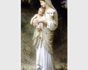 William Adolphe Bouguereau,  L'innocence.  Shepherdess with baby &  lamb,  Lamb of God, religious art, antique art, canvas art prints, Jesus