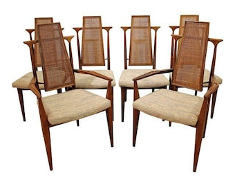 Mid-Century Dining Chairs Danish Modern Vladimir Kagan Floating Walnut Caned Dining Chairs-Set of 6