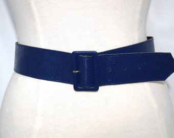 Vintage Blue Faux Leather Belt, Made in West Germany with Mock Reptile Skin Finish & Covered Astor Buckle, Retro Accessories, Vegan Options