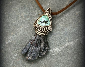 Black Kyanite pendant with Turquoise gemstone earthy crystal necklace specimen Wicca Metaphysical spiritual healing lucky charm