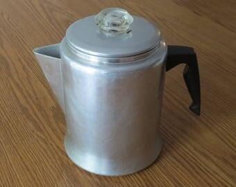 Aluminum Mirro 7 Cup Percolating Coffee Pot, Coffee, Camping Coffee Pot, Vintage Kitchen, Mirro, Percolator