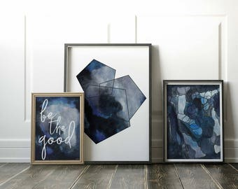 Starter Pack Gallery Wall. Minimalist Art Print Set. Abstract Blue Art Print Starter Pack. Colorful Abstract Art Prints