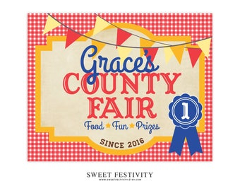 County Fair Welcome Sign, County Fair Party, State Fair Party, Carnival Party, Carnival Sign, 1st Birthday Party, First Birthday, Printable