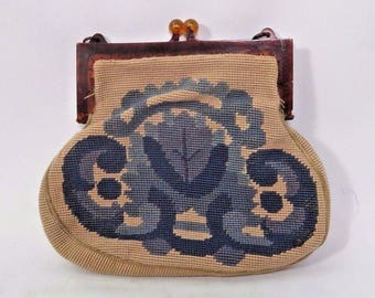 Needlepoint Tapestry Handbag Purse Needlework Lucite Frame Blue Floral 1950s Vtg