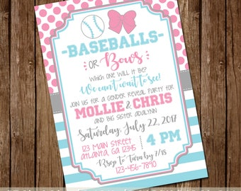 Baseballs or Bows, Which One Will It Be Gender Reveal Party Invitation - Baby Boy/Girl Invite - Red/Blue or Pink/Blue -Girl or Boy-Printable