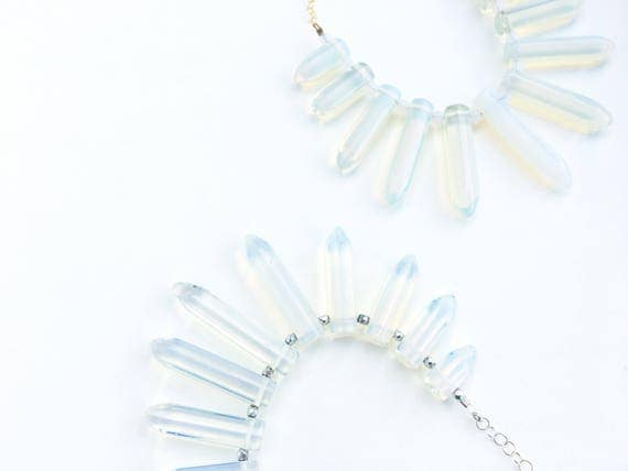 Opalite Statement Necklace // Gold, Silver or Gunmetal //
