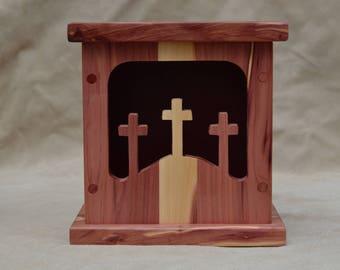 Wooden, triple cross, shadow light boxes